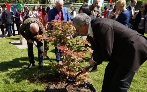 Đại sứ Việt Nam tại Ukraine trồng cây tại khuôn viên Vườn Thực vật.