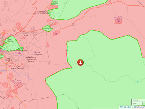 Vị trí chiếc máy bay chiến đấu của không quân Syria bị rơi ở sa mạc Damascus