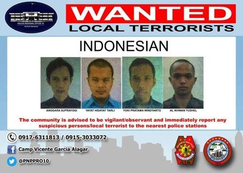 Cảnh sát Philippines phát lệnh truy nã 4 nghi phạm Indonesia tham gia trận chiến Marawi ở Philippines. Ảnh: INP