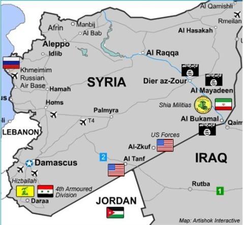 Bản đồ phân bố lực lượng và hướng cơ động của các lực lượng hướng tới khu vực Deir Ezzor .