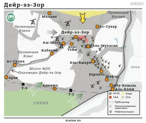 Sơ đồ phân bố các lực lượng tiến về khu vực Deir ez-Zor và lực lượng khủng bố IS ở khu vực này. (Ảnh:riafan.ru)