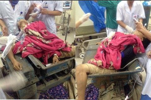 Nam thanh niên được đưa tới bệnh viện trong tình trạng bị mắc kẹt trong chiếc máy.