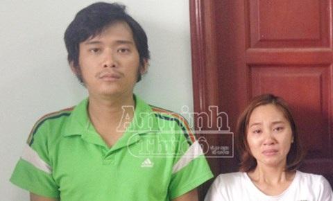 Hai đối tượng Trần Quý Phương và Phạm Thị Hoa tại cơ quan công an