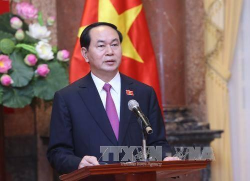 Chủ tịch nước Trần Đại Quang trả lời phỏng vấn các cơ quan thông tấn, báo chí. Ảnh: Nhan Sáng/TTXVN
