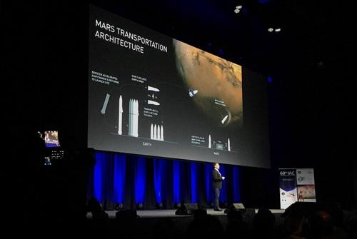 Tỉ phú Elon Musk công bố tham vọng phát triển loại tên lửa giúp con người đi lại siêu nhanh trên trái đất tại một sự kiện ở Úc vào tháng rồi Ảnh: REUTERS