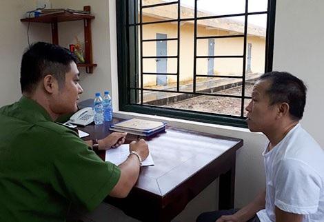 Đối tượng Hoàng Trung Từ tại Trại tạm giam Công an tỉnh Phú Thọ.