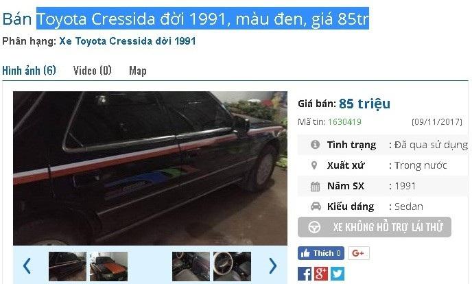 Chiếc Toyota Cressida đời 1991 màu đen này đang được chủ nhân rao bán giá 85 triệu đồng. Theo giới thiệu của người bán, thì xe sở hữu máy 2.0 mạnh mẽ, máy lạnh còn tốt, 4 vỏ mới, vận hành an toàn.