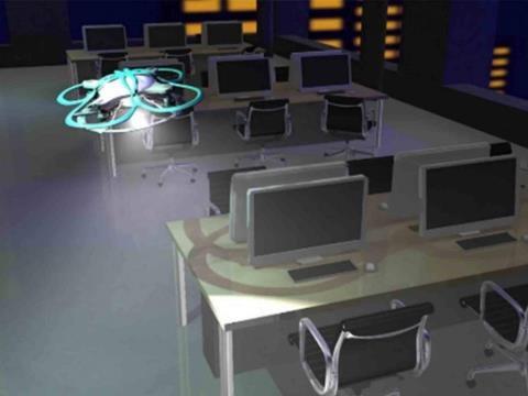 Chiếc UAV sẽ phát bài hát Auld Lang Syne để cảnh báo nhân viên hết giờ làm việc.