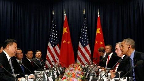 Chủ tịch Trung Quốc Tập Cận Bình và Tổng thống Mỹ Barack Obama tại diễn đàn APEC 2016, Lima, Peru.