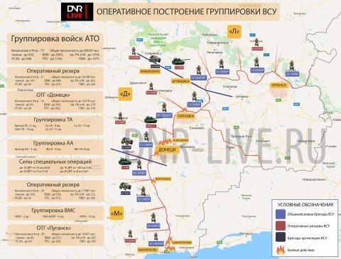 Hình ảnh phân bố các nhóm vũ trang của quân đội Ukraine. (Ảnh: DNR-LIVE.RU)