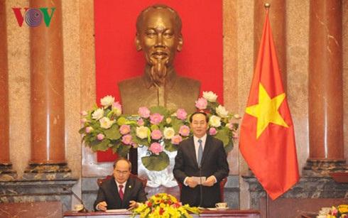 Chủ tịch nước Trần Đại Quang phát biểu tại buổi làm việc.