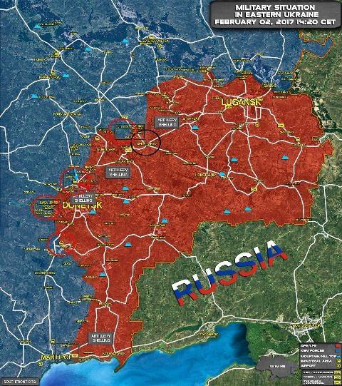 Bản đồ bố trí quân Ukraine và khu vực tấn công hỏa lực trên giới tuyến với Donetsk