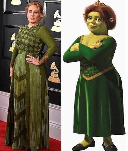 Adele bị so sánh với công chúa Fiona