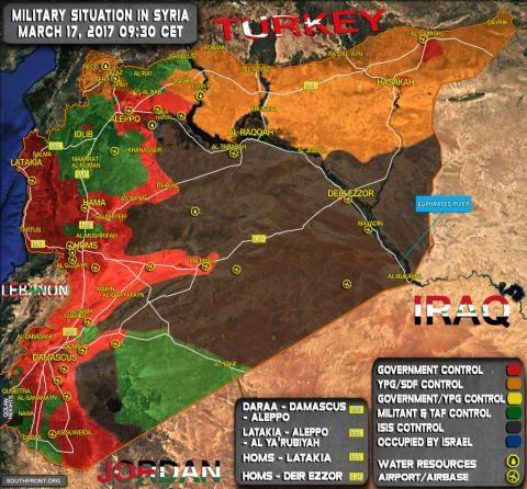 Bản đồ Syria ngày 17/3