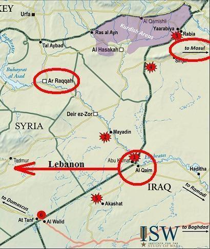 Khu vực tập kết hiện nay của IS ở al-Qaim, nằm trên biên giới Iraq-Syria