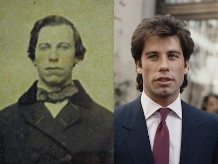 Nhiều fan hâm mộ đã phải giật mình khi chứng kiến hình ảnh của nam tài tử John Travolta được ghi lại từ… 150 năm trước. Từ mắt, mũi, lông mày cho tới cấu trúc xương mặt, người đàn ông trong hình đều trông giống hệt với John Travolta.