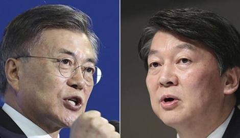 Hai ứng cử viên tiềm năng nhất trong cuộc bầu cử Tổng thống Hàn Quốc, ông Moon Jae-in và ông Ahn Cheol-soo.