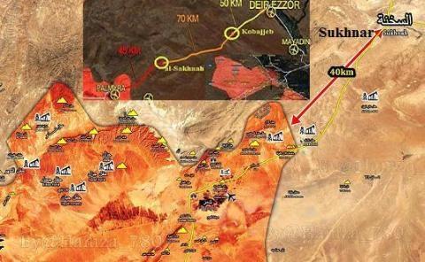 Mũi tấn công từ Palmyra của Quân đội Syria còn ở cách Deir Ezzor tới 160km
