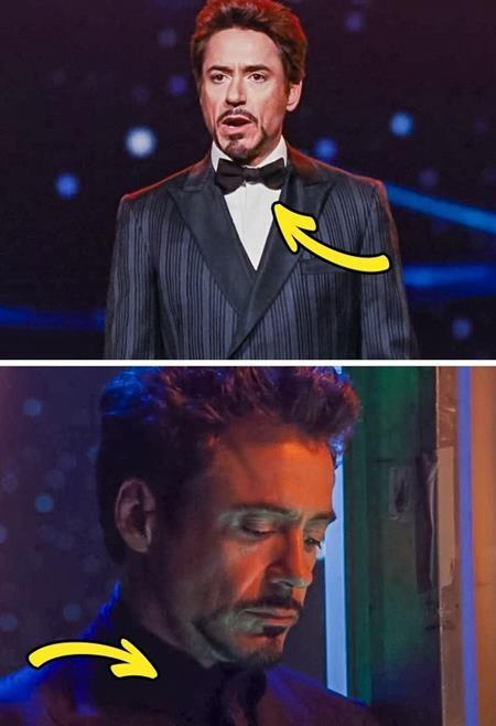 """Trong một cảnh phim """"Iron man 2"""", Tony Stark ban đầu diện một chiếc sơmi trắng và rồi màu áo của chàng tỉ phú trong tích tắc đã được hô biến thành đen"""