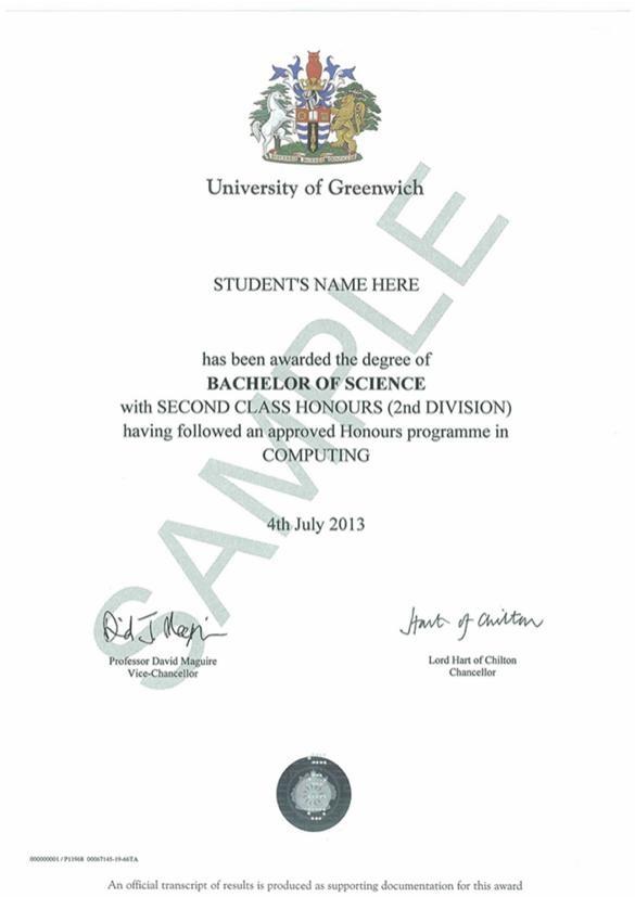 Mẫu phôi bằng của Đại học Greenwich( Việt Nam) - Là bằng Cử nhân (Bachelor Degree) được cấp bởi Đại học Greenwich Vương quốc Anh.