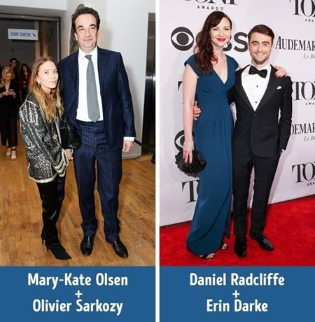 """Mary-Kate Olsen chỉ cao 1.57 mét trong khi ông xã Olivier Sarkozy cao tới 1.9 mét. Và một ví dụ nữa cho chuyện """"đũa lệch"""" khi yêu nhau là Daniel Radcliffe, cao 1.65 mét vẫn đang hạnh phúc bên Erin Darke, cao 1.7 mét."""