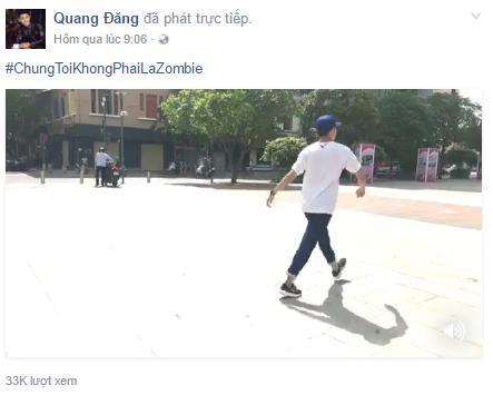 """Vũ công Quang Đăng dùng hashtag khẳng định """"chúng tôi không phải là zombie"""" và chia sẻ cách """"vừa nhảy vừa đi bộ"""" trên trang cá nhân"""