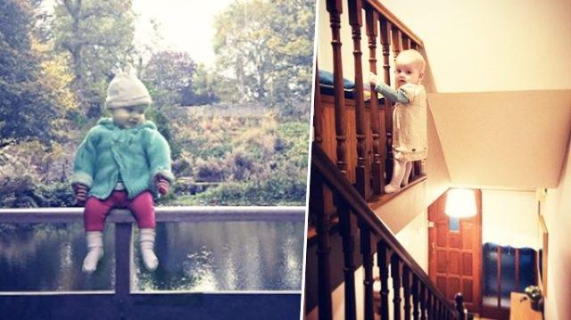 Bé gái 18 tháng tuổi liên tục chơi ở những vị trí nguy hiểm