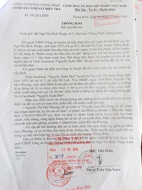 Chiếc bánh do con chị Đào đăng Facebook có ảnh con gì bò trong bánh và kết luận điều tra của Công an huyện Thăng Bình, Quảng Nam. Ảnh: TÂM AN