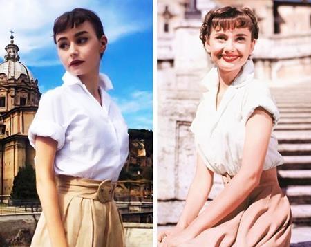 """Huyền thoại điện ảnh Audrey Hepburn đã bất ngờ tìm thấy một người """"chị em"""" khác họ là Charlotte Tighe"""