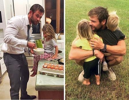 """Dù Chris Hemsworth có bận rộn đến mấy thì ba nhóc tì Tristan, India và Sasha vẫn luôn là ưu tiên hàng đầu của """"Thần Sấm"""". Bà xã Elsa Pataky cũng tự hào khoe rằng Chris Hemsworth có sở thích nấu đồ ăn cho các con và lúc nào """"Thần Sấm"""" cũng là một ông bố mẫu mực, ân cần hiếm có."""