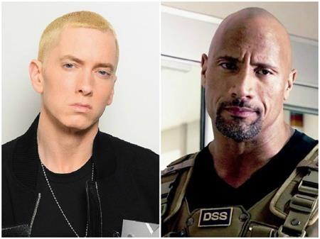 Cùng sinh năm 1972 nhưng nếu chỉ xét riêng về ngoại hình thì Dwayne Johnson quả thực trông như bậc cha chú của Eminem