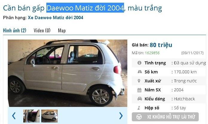 Chiếc Daewoo Matiz đời 2004 màu trắng này được rao giá 80 triệu đồng trên thị trường ô tô cũ. Xe được quảng cáo là không hao xăng, chạy tốt và vận hành an toàn.