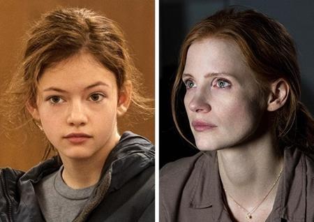 """Trong """"Interstellar"""", cô bé Murph do Mackenzie Foy thủ vai sau này lớn lên do nữ minh tinh Jessica Chastain thể hiện"""
