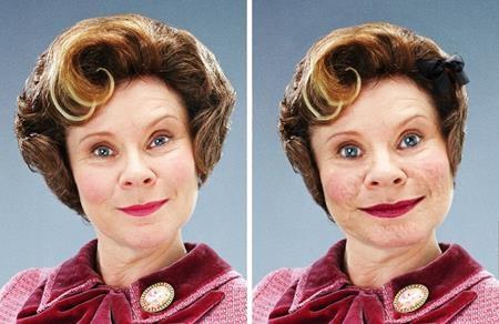 """Dolores Umbridge được miêu tả khá sinh động trong truyện """"Harry Potter"""" với khuôn mặt rộng mềm nhũn, cổ thấp nhưng lại có cái miệng rộng"""