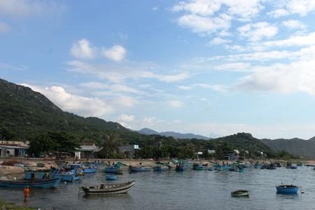 Hàng chục chiếc ghe đang vào bờ xuất bán cá cơm cho các vựa thu mua. Ảnh:C.T