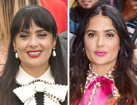 """Do gương mặt đã lộ rõ các dấu hiệu tuổi tác nên Salma Hayek khi để tóc mái lại đem tới cảm giác """"cưa sưng làm nghé"""""""
