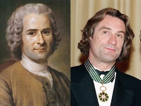 Nam diễn viên nổi tiếng Robert De Niro thường được ví von với nhà tư tưởng Jean-Jacques Rousseau, người đã qua đời từ tháng 7/1778.