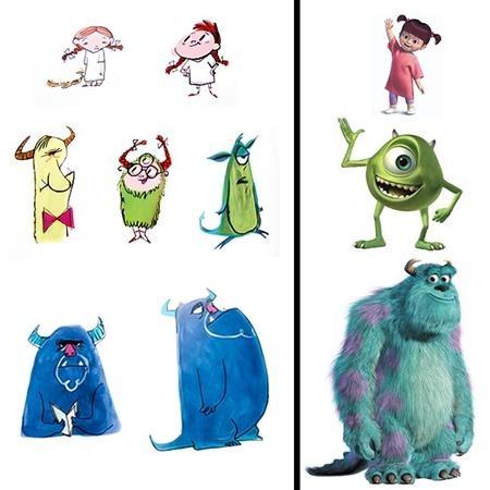 """Và đây chính là tiến trình thay đổi hết sức đáng yêu của bộ ba nhân vật chính trong """"Monsters, Inc."""""""