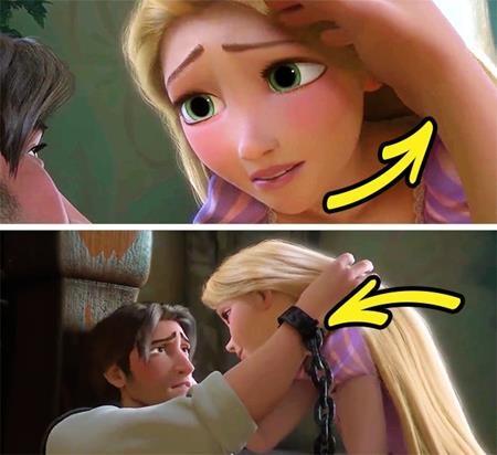 Ngoài ra, khi Flynn hấp hối nói lời tạm biệt với Rapunzel, dù Flynn đang bị còng tay nhưng chiếc còng này lại thoắt ẩn thoắt hiện