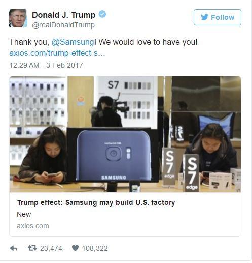 Dòng Tweet của Trump cảm ơn và bày tỏ tình cảm của Mỹ với Samsung.