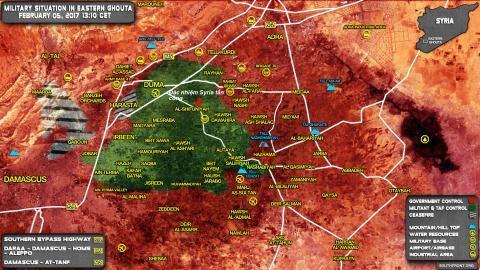 Bản đồ chiến sự khu vực Đông Ghouta, ngoại ô Damascus.