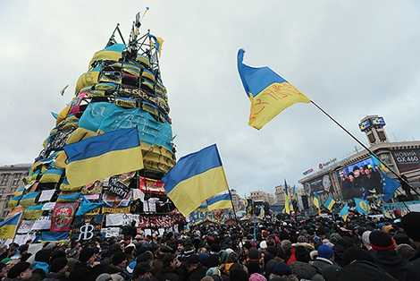 Hình ảnh về phong trào biểu tình trên Quảng trường Độc lập (Maidan), tháng 12-2013. Ảnh: links.org.au.