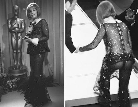 Barbra Streisand từng gây ra rất nhiều tranh cãi khi tới dự lễ trao giải Oscar năm 1969 với một chiếc váy xuyên thấu nhức mắt, tuy nhiên, không thể phủ nhận rằng chiếc váy này thực sự là một trong những bộ trang phục ấn tượng nhất của lịch sử lễ trao giải