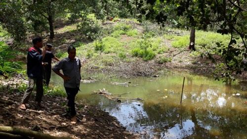 Ao nước xảy ra tai nạn khiến 3 học sinh ở xã Bình Thắng, huyện Bù Gia Mập,tỉnh Bình Phước tử vong ngày 15.5. Ảnh: T.N