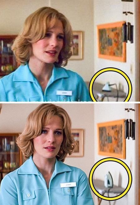 """Jenny trong phim """"Forrest Gump"""" vẫn đang chuyên tâm nói chuyện nhưng không hiểu có bàn tay vô hình nào đã giúp cô nàng này chỉnh lại chiếc bàn là"""