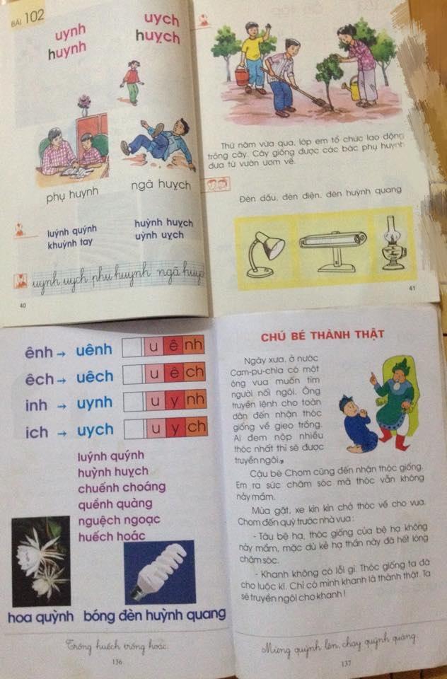 So sánh một tiết học trong chương trình SGK Tiếng Việt lớp 1 và SGK Tiếng Việt của chương trình công nghệ giáo dục. Nhiều giáo viên phản ánh, trường áp dụng dạy theo sách công nghệ giáo dục khiến chương trình nặng hơn, giáo viên - học sinh vất vả, phụ huynh muốn dạy con cũng bó tay vì rối.