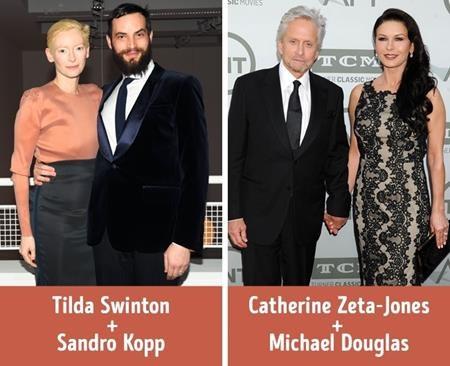 Tilda Swinton hơn bạn trai Sandro Kopp 18 tuổi còn Catherine Zeta-Jones kém ông xã Michael Douglas 25 tuổi nhưng tuổi tác chưa khi nào là một rào cản không thể vượt qua trong tình yêu.
