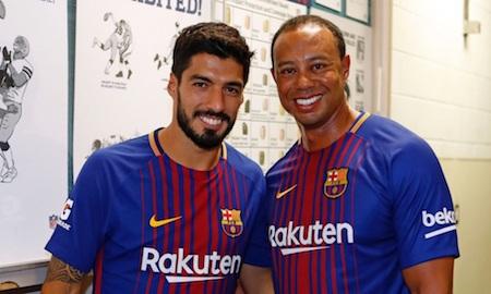 Luis Suarez rất sung sướng khi có cơ hội gặp Tiger Woods