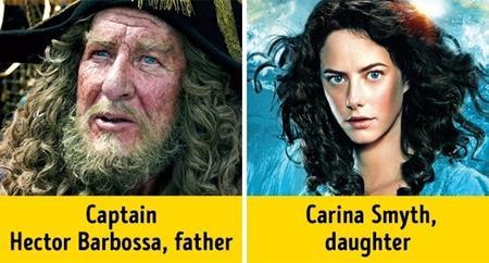 """Ở phần phim thứ 5 của """"Pirates of the Caribbean"""", người xem đã rất bất ngờ khi khám phá ra rằng thuyền trưởng Barbossa (Geoffrey Rush thủ vai) lại có một cô con gái xinh đẹp như Carina Smyth (Kaya Scodelario thủ vai)"""