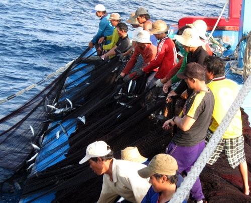 Các thuyền viên trên tàu của ngư dân Nguyễn Văn Ái đang đánh bắt xa bờ. Ảnh: Dũ Tuấn